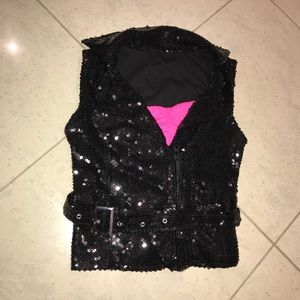 Children's sequin vest with belt